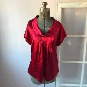 Michael Kors Red Pleated Blouse